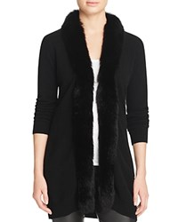 Bloomingdale's C By Fox Fur Trim Cashmere Cardigan Black
