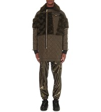 Astrid Andersen Quilted Shell And Mohair Jacket Green