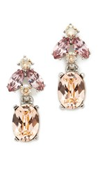 Oscar De La Renta Floral Navette Small Drop Earrings Peach