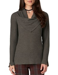 Democracy Ribbed Cowlneck Sweater Charcoal Grey