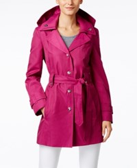 London Fog Snap Button Hooded Trench Coat Orchid