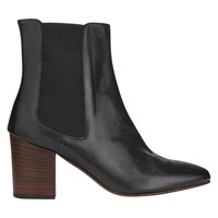 Jigsaw Erin Block Heeled Ankle Boots Black Leather