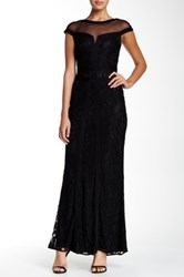 Tadashi Shoji Lace Cap Sleeve Gown With Sheer Illusion Black