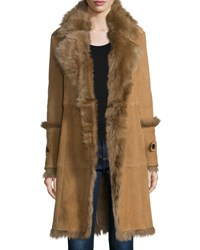 Burberry Northcote Belted Shearling Fur Coat Camel