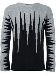 Tom Rebl Abstract Pattern Pullover Grey