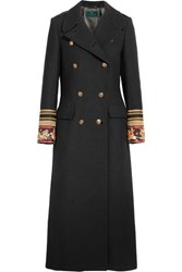 Etro Embroidered Double Breasted Wool Blend Twill Coat Black