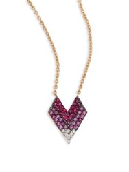 Kismet By Milka Shades Of Love Diamond Pink Sapphires And 14K Rose Gold Pendant Necklace Rose Gold Pink Sapphire