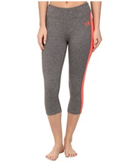 The North Face Pulse Capri Tight Zinc Grey Heather Fiery Coral Women's Capri Gray