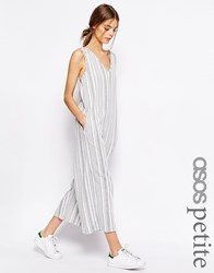 Asos Petite Jersey Jumpsuit With Wide Leg In Variegated Stripe Mono Multi