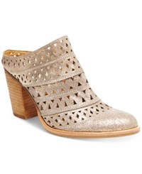 Steve Madden Women's Harmony Perforated Block Heel Mules Women's Shoes Dusty Gold