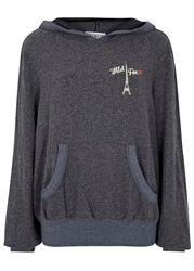 Wildfox Couture Navy Hooded Jersey Sweatshirt