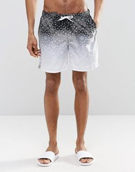 Asos Swim Shorts With Dip Dye Paisley Print In Mid Length Black