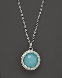Ippolita Sterling Silver Stella Lollipop Pendant Necklace In Turquoise Doublet With Diamonds 16 Silver Multi