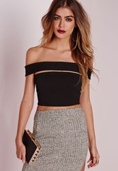 Missguided Cut Out Bandeau Crop Top Black Black