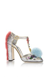Dolce And Gabbana Glitter Pompom Mary Jane Silver