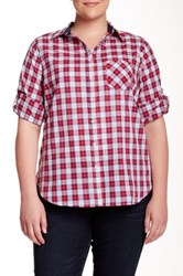 Sandra Ingrish One Pocket Plaid Button Down Blouse Plus Size Red