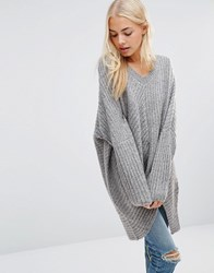 Qed London Oversized Cable Knit Jumper Grey