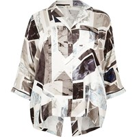 River Island Womens Ri Plus Black Geo Print Shirt