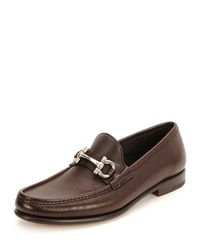 Salvatore Ferragamo Mason Gancini Bit Leather Loafer Brown
