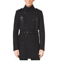 Michael Kors Wool Melton Admiral Trench Coat Black