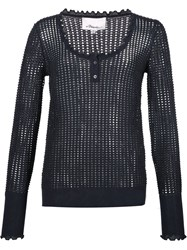 3.1 Phillip Lim Open Knit Henley Top Black