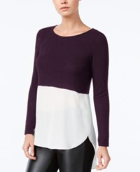 Bar Iii High Low Colorblocked Top Only At Macy's Deep Merlot
