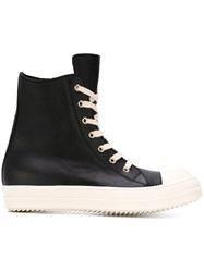 Rick Owens Side Zip Hi Top Sneakers Black