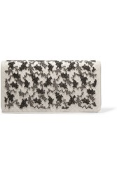 Bottega Veneta Embroidered Intrecciato Leather Clutch Ivory Gray