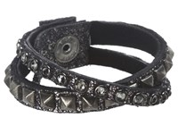 Leather Rock B337 Distressed Pewter Hemonite Bracelet Black