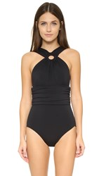 Michael Kors Draped High Neck Shirred Maillot Black
