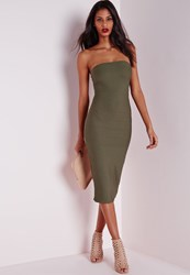 Missguided Strapless Bandage Bodycon Dress Khaki