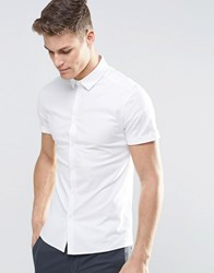 Asos Skinny Oxford Shirt In White With Short Sleeves White