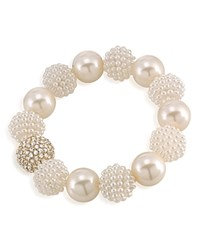 Carolee Simulated Pearl Beaded Bracelet White