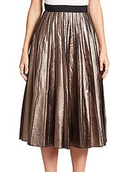 Marc Jacobs Metallic Leather Pleated Skirt Copper