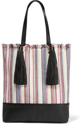 Loeffler Randall Cruise Striped Canvas And Leather Tote White