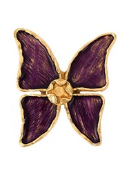 Yves Saint Laurent Vintage 'Pretty Butterfly' Brooch Pink And Purple
