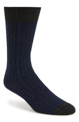 Men's Hook Albert Cable Knit Socks Blue Blue Twist