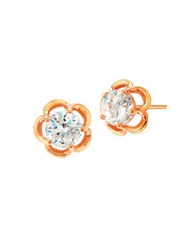 Crislu Florettes Cubic Zirconia And 18K Rose Goldpated Sterling Silver Stud Earrings