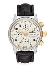Fortis Flieger Automatic Stainless Steel And Leather Chronograph Watch White
