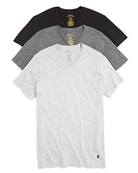 Polo Ralph Lauren Slim Fit Jersey V Neck Tee Pack Of 3 Grey Black Assorted