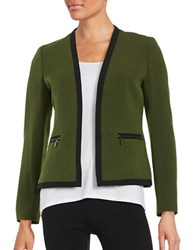 Nipon Boutique Open Front Blazer Green Black