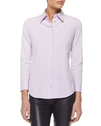 The Row Three Quarter Sleeve Fitted Button Blouse