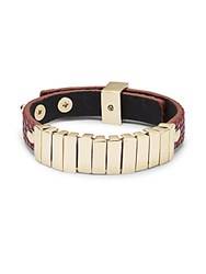 Saks Fifth Avenue Faux Leather Bracelet Brown Gold