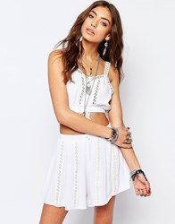 Kiss The Sky Button Front Festival Crop Top White