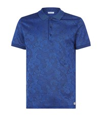 Versace Collection Baroque Jacquard Polo Top Male Blue