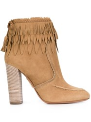 Aquazzura Fringed Ankle Boots Nude And Neutrals