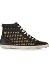 Frye Kira Studded Distressed Leather High Top Sneakers