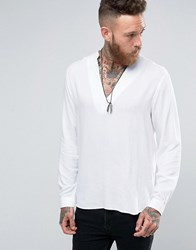 Asos White Shirt In Viscose With V Neck In Regular Fit White