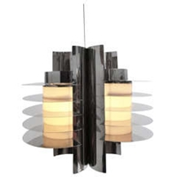 Stunning Stainless Steel Chandelier In Style Of Ico Parisi's 'Iride' Series
