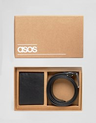 Asos Gift Set With Leather Wallet And Belt Black